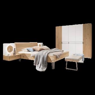 Thielemeyer Meta Schlafzimmer Wildeiche 5-türiger Drehtürenschrank Komfort-Liegenbett 2 Hängekonsolen 2 Aufsatzpaneelen Hirnholzscheiben optional