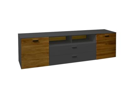 Mäusbacher Arizona Lowboard 22-E für Ihr Wohnzimmer mit 2 Massivholztüren 2 Schubkästen und 2 offenen Fächer Korpusdekor wählbar Absetzung Wildeiche geölt