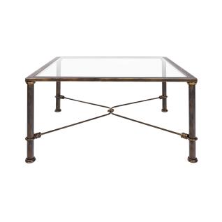 Eve collection Couchtisch Toscana mit Tischplatte aus Klarglas Wohnzimmertisch mit Gestell aus Eisen in wählbarer Farbe für Ihr Wohnzimmer Größe wählbar