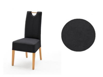 MCA Direkt Stuhl Elida anthrazitfarbener Bezug Argentina 2er Set Polsterstuhl für Wohnzimmer und Esszimmer Ausführung 4 Fuß Massivholzgestell und Griff wählbar