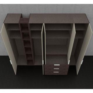 Nolte concept me 100 Kleiderschrank 5-türig 3 vorgezogenen Schubkästen offenem Regal Türen Glasauflage Fango Korpus Schubkästen Eiche-Nachbildung - Vorschau 4