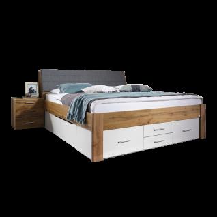 Rauch Packs Scala-Extra Bett mit 6 integrierten Sockelschubkästen und Kopfteil mit Stauraumfunktion Farbausführung alpinweiß mit Absetzungen Dekor- Druck Eiche Wotan Liegefläche wählbar optional mit Nachttischen