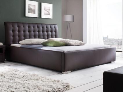 Meise Möbel ISA-COMFORT Polsterbett mit Kunstlederbezug in weiß schwarz braun oder muddy mit gestepptem Kopfteil und Metallfüßen Liegefläche wählbar - Vorschau 5
