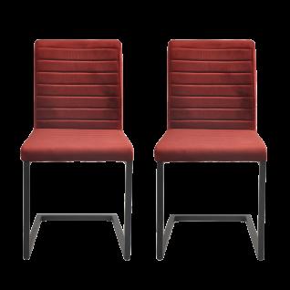 Sit Möbel Schwingstuhl im 2er-Set Bezug Samt rot Gestell schwarz
