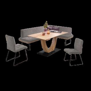 K+W Silaxx Essgruppe 4022 Tribeka vierteilig bestehens aus einer eleganten Eckbank einem modernen Massivholztisch aus der Modellreihe 5292 und zwei exklusiven Stühlen aus der Modellreihe 6151 mit einem einzigaritgen Stoffbezug 915-86