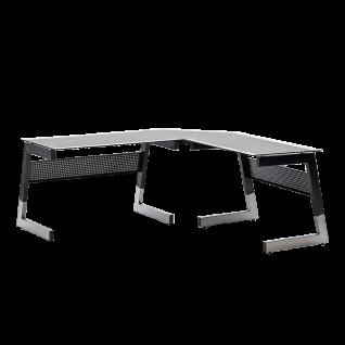 MCA furniture Office Big Schreibtisch XL 43502 Sicherheitsglas klar teilbedruckt 8 mm Gestell Metall teillackiert Farbe wählbar