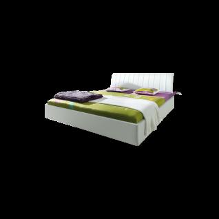 Nolte Möbel Sonyo Bett 2 mit gerundetem Bettrahmen und Polster-Rückenlehne 2 Ausführung Polarweiß in schwebender Optik Liegefläche wählbar