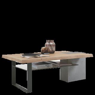 Hartmann Brik Couchtisch mit Bohle 8470-0308 in Kerneiche Natur Massivholz gebürstet Säule aus Beton Kufe Metall anthrazit und Glasablage in parsolbronze