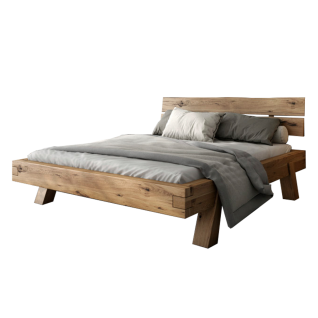 Elfo-Möbel Heinrich Futonliege mit Kopfteil Bett in Eiche Rustic Massivholz mit 4 Füßen für Ihr Schlafzimmer