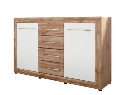 Schlafkontor Rondell Kommode 2 Türen und 4 Schubladen Korpus und Schubkästen in Wildeiche Nachbildung Türen in Weiß Nachbildung