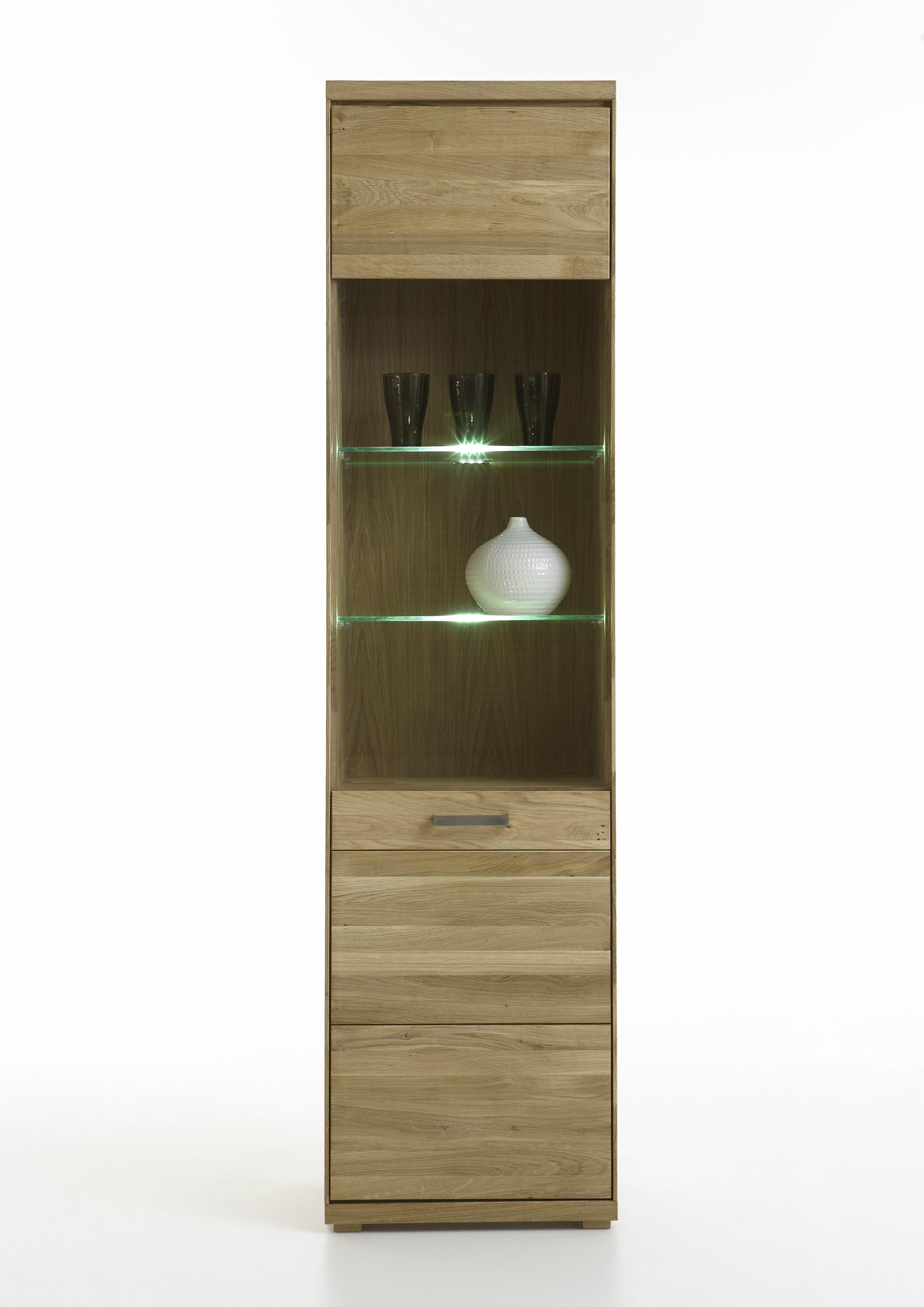 elfo vitrine mia schmal wildeiche oder kernbuche massivholz geolt glasschrank art nr 2901 6901
