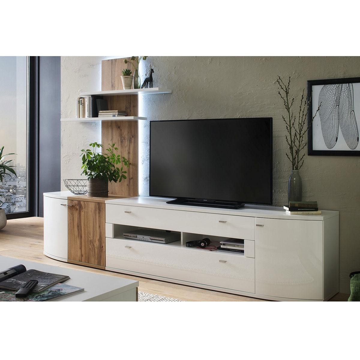 Weisse wohnwand hochglanz - Designermobel wohnzimmer ...
