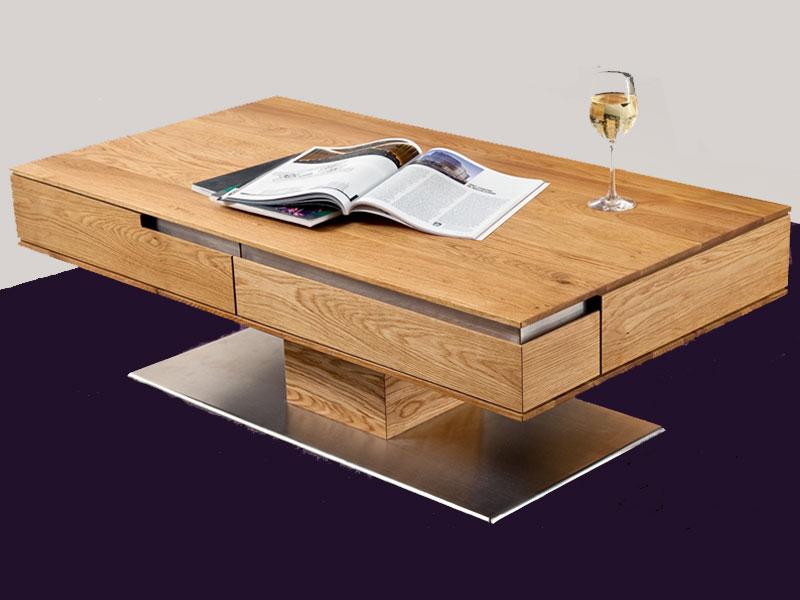 Wimmer Acerro Couchtisch Massivholz Tischplatte Mit Schubladen Für