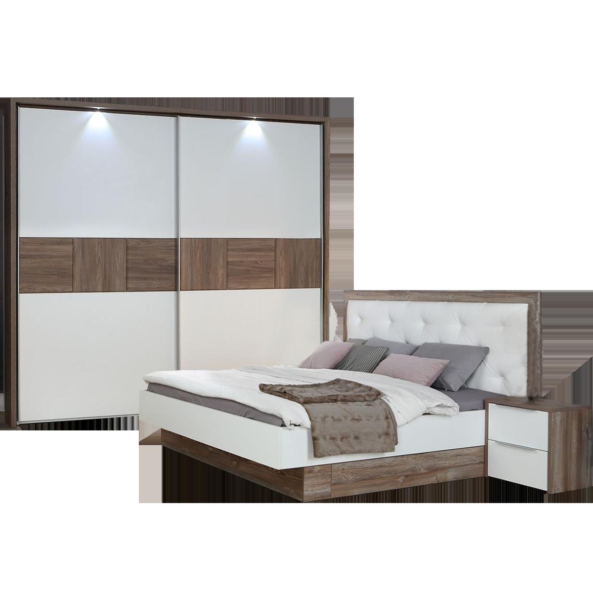 Forte Esporao Schlafzimmer Kombination Bettanlage Nachtkommoden Set