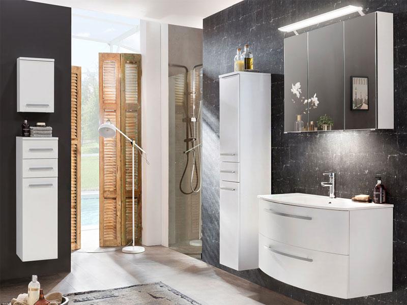 W.Schildmeyer Möbel Linus Badmöbel Set 5-tlg. für Badezimmer mit  Spiegelschrank Waschtisch Oberschrank Hochschrank und Highboard