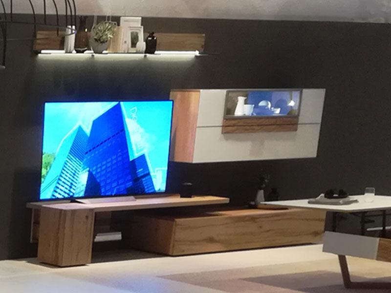 Voglauer V Alpin Vorschlagskombination 314 Relaunch AV314 Wohnkombination  vierteilig für Wohnzimmer mit Hängevitrine Wandboard Mediaelement und ...