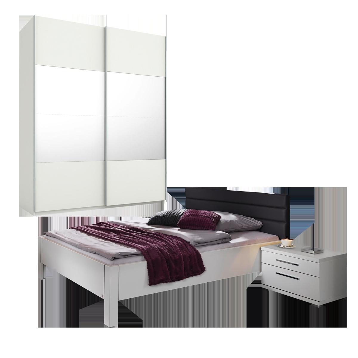 Rauch Steffen / Dialog Nice4Home Schlafzimmer 3-teilig bestehend aus  Schwebetürenschrank 2-türig mit Spiegelauflage Bett mit Polsterkopfteil in  ...