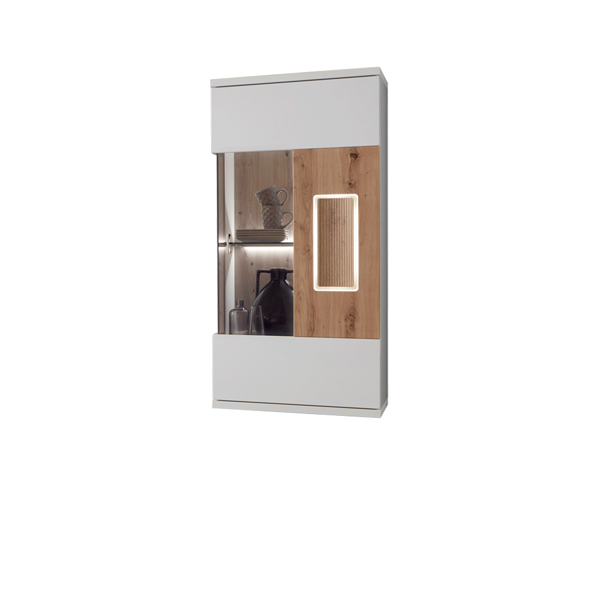 Ideal-Möbel Falan Hängevitrine Type 22 für Ihr Wohnzimmer moderne Vitrine  mit 1 Glastür Korpus in Weiß mit Absetzungen in Eiche Artisan Folie ...