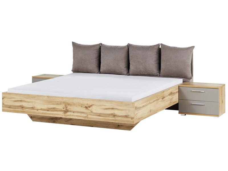 schlafkontor delta bett mit polsterkopfteil und 2 nachtkommoden in wildeiche nachbildung. Black Bedroom Furniture Sets. Home Design Ideas