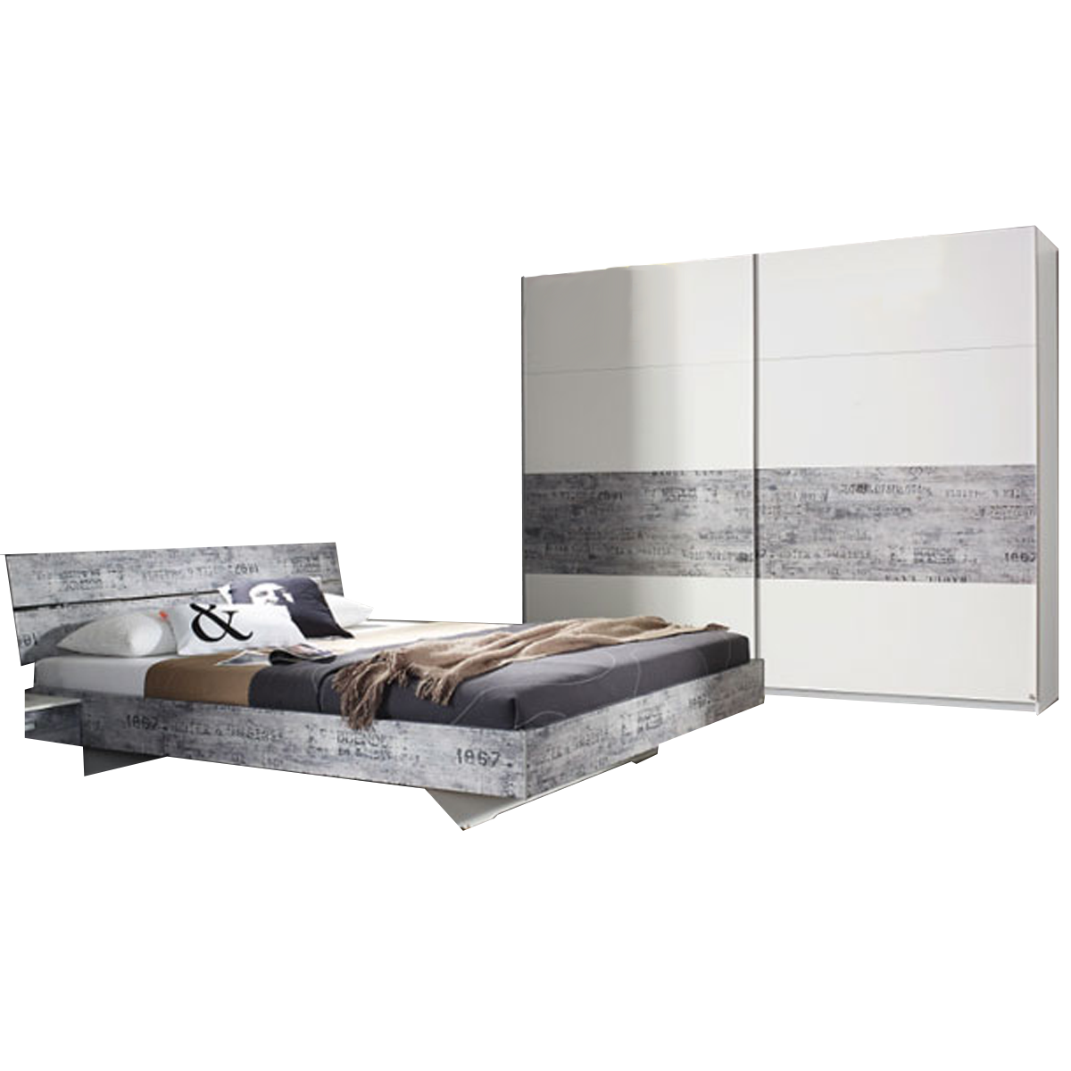 Rauch Select Sumatra-Extra Schlafzimmer bestehend aus Bett Liegefläche ca.  180x200 cm und Schwebetürenschrank 2-türig in alpinweiß mit Absetzungen in  ...