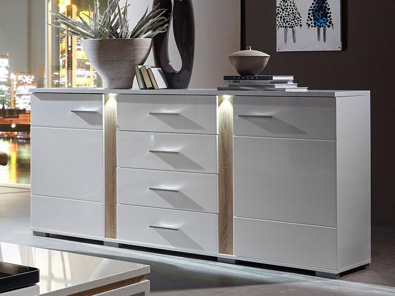 innostyle sideboard spot wei kommode 10 68 ww 20 mit led beleuchtung anrichte in wei. Black Bedroom Furniture Sets. Home Design Ideas