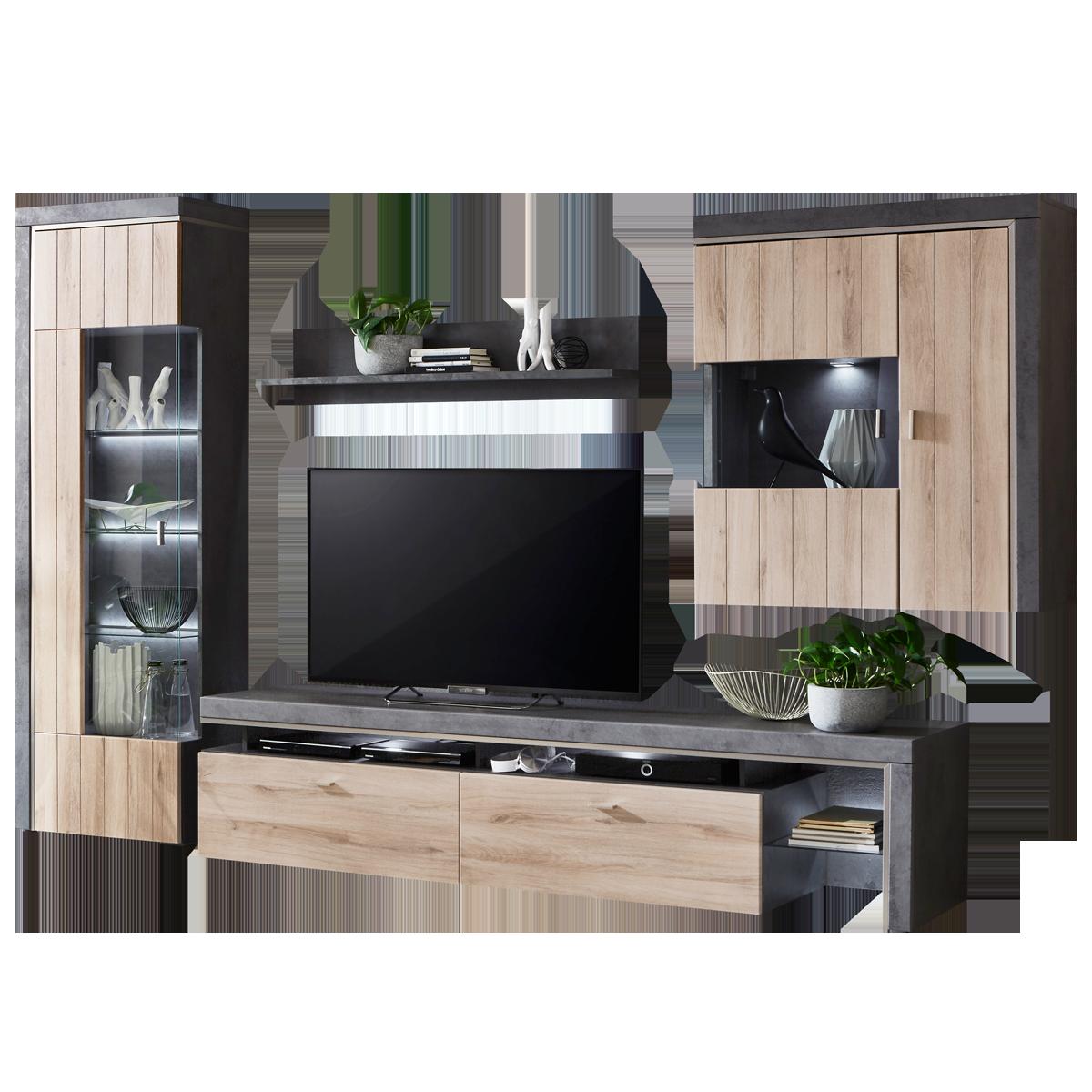 Häufig Ideal-Möbel Ribeira Wohnkombination 04 moderne 4-teilige Wohnwand FE29