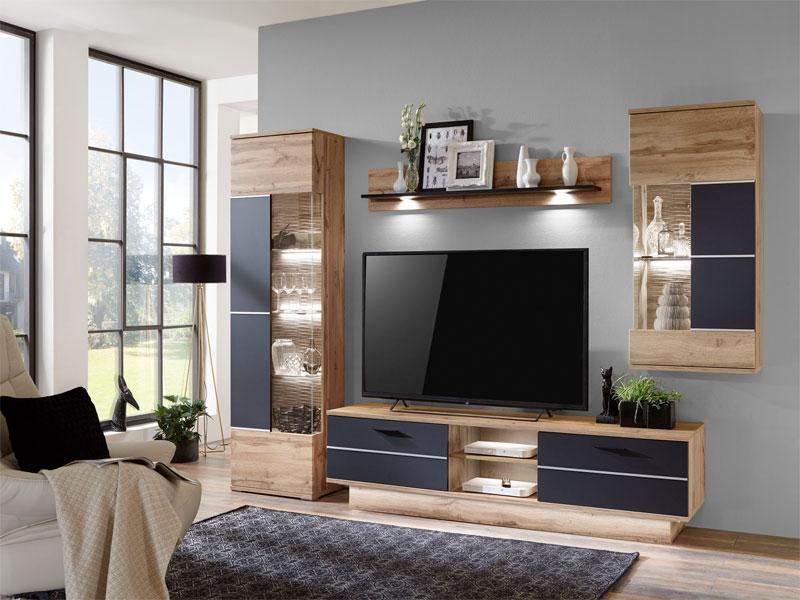 IDEAL-Möbel Wohnwand Alfonso Kombination 17 in Lack-Optik schwarz ...
