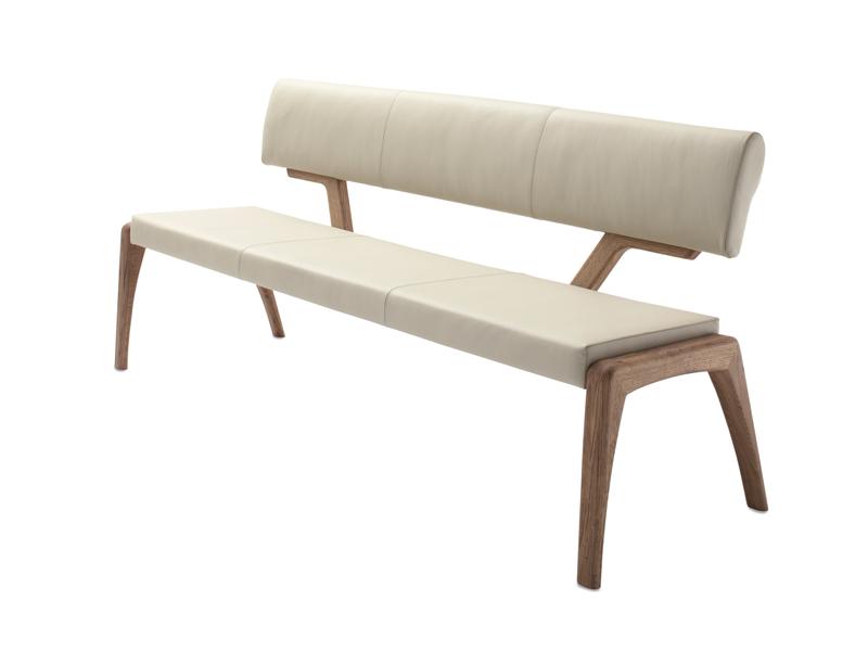 Wimmer Nyon Sitzbank mit Rückenlehne Sitzfläche und Rücken fest gepolstert  mit Massivholzteilen für Esszimmer und Küche
