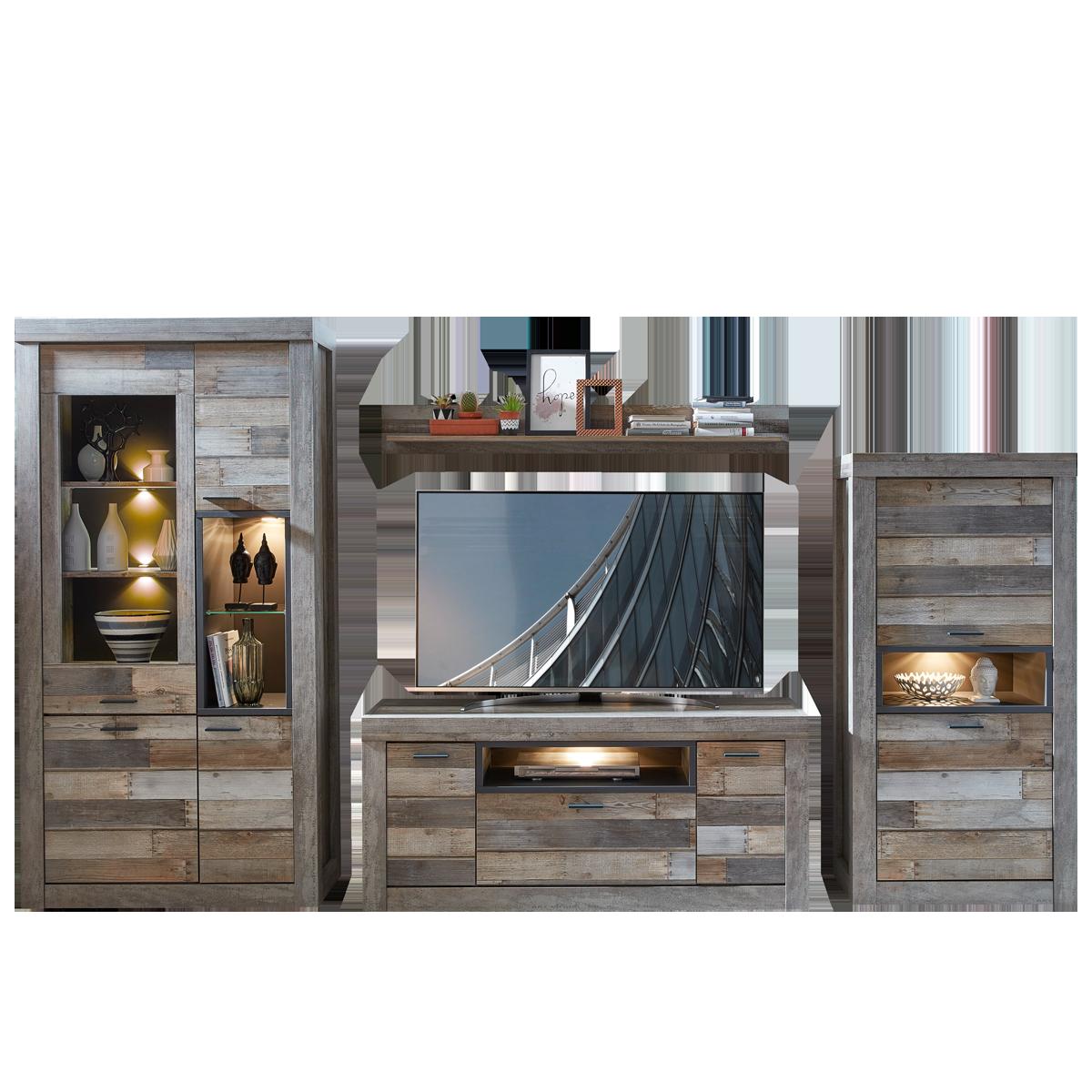 Wohn Concept Santa Fe Wohnwand 40 83 Dd 81 Moderne Vierteilige Wohnkombination Im Industrial Look Und Used Look Mit Vitrine Lowboard Stauraumelement