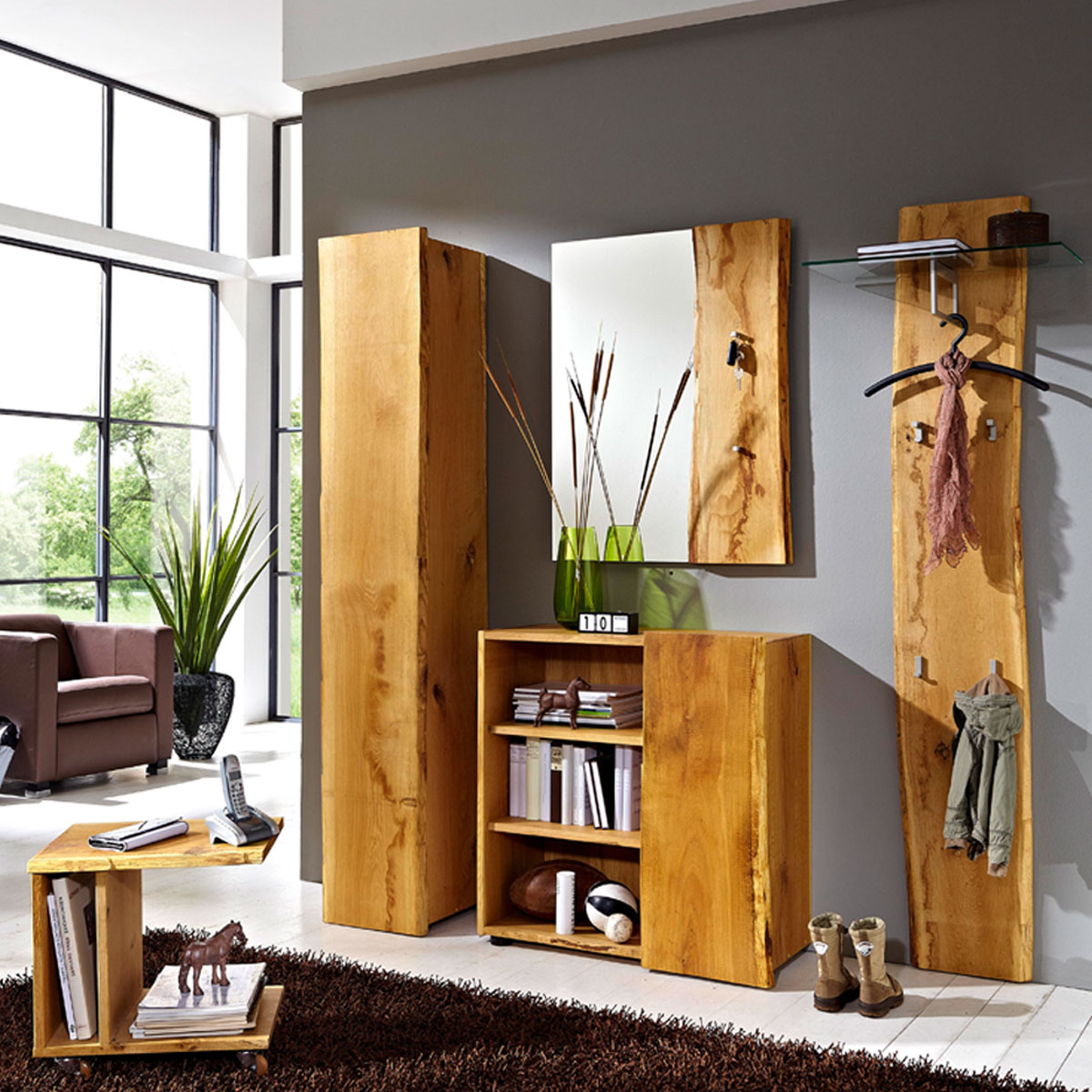 Skalik Meble Woodline Garderobe Garderobenpaneel Mit Glasplatte