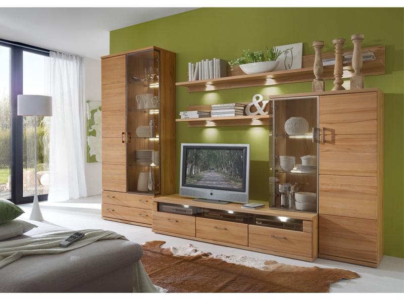 Ideal Mobel Wohnwand Preno Kombination 77 5 Teilig In Kernbuche Teilmassiv Mit Viel Stauraum Ideal Fur Ihr Wohnzimmer