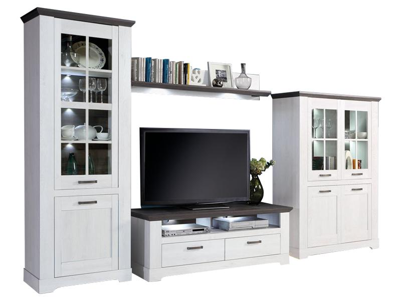 FORTE Gasparo 4-teilige Wohnwand Gasparo für Ihr Wohnzimmer Wohnkombination  im Landhausstil mit TV-Unterschrank zwei Vitrinen und Wandbard Dekor ...