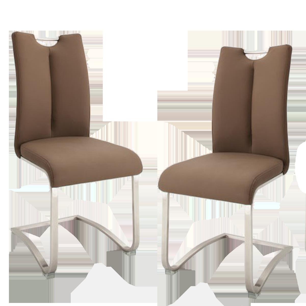 MCA furniture Schwingstuhl Artos 1XL mit Griff Kunstlederbezug Farbe cappuccino Gestell Flachrohr Edelstahl gebürstet Stühle im 2er Set