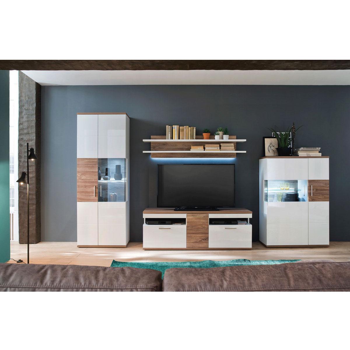 Mca Furniture Luzern Luz93w01 Wohnkombination 1 Fur Ihr Wohnzimmer 4 Teilige Wohnwand Hochglanz Weiss Tiefzieh Nachbildung Mit Absetzung Sterling Oak