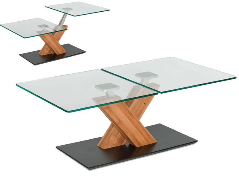 Vierhaus Couchtisch 1627 Mit Zwei Glas Tischplatten Saulen Aus
