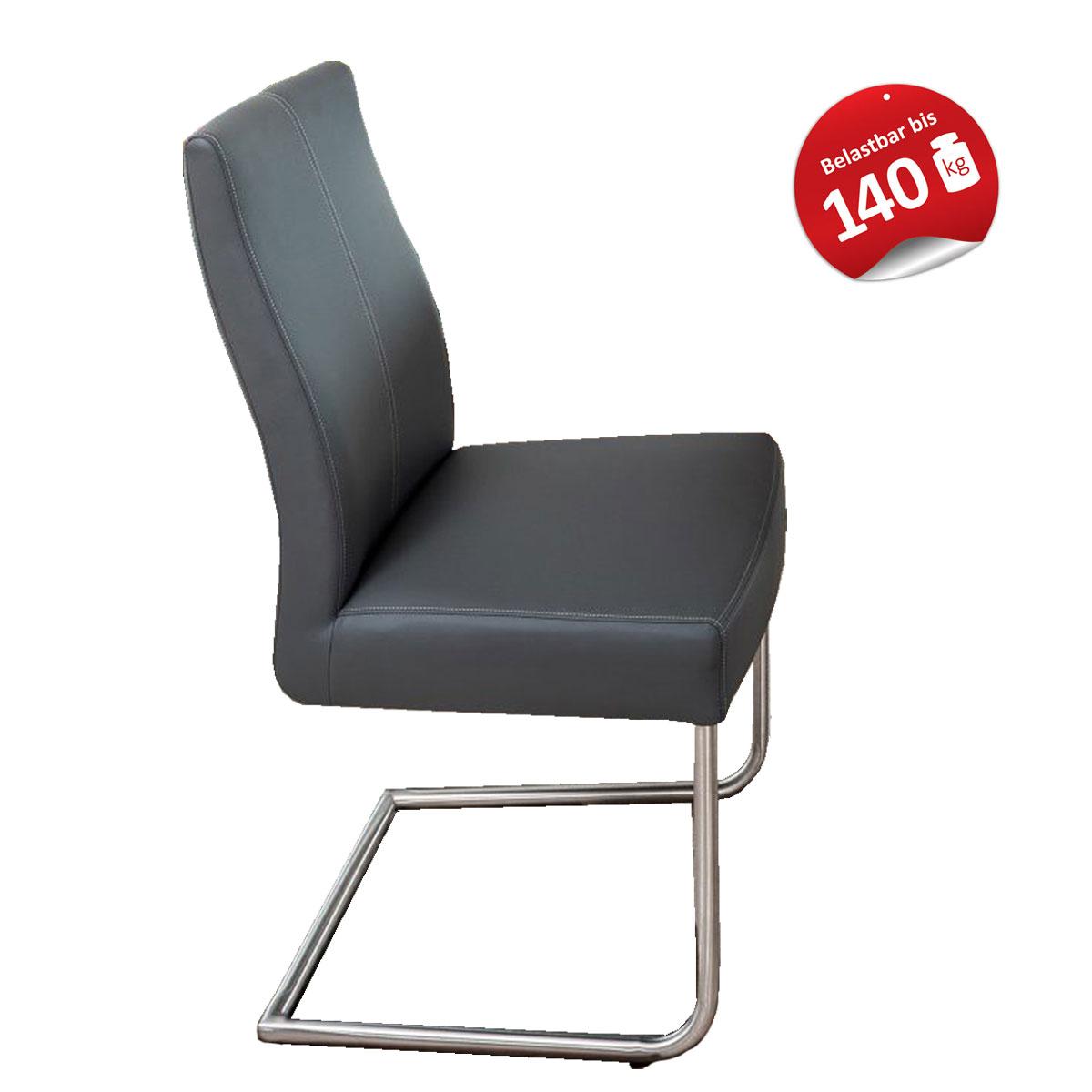Standard Furniture Polsterstuhl Gina Bezug KAIMAN grau aus Kunstleder und stabiles Rundrohrgestell Edelstahl Stuhl mit Griffleiste auf der Rückseite
