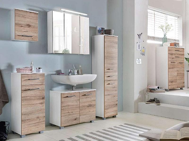 W. Schildmeyer Terra Möbel Badmöbel Set 6-tlg. für Badezimmer mit  Spiegelschrank Unterschrank Hochschrank Waschbeckenunterschrank Oberschrank  und ...