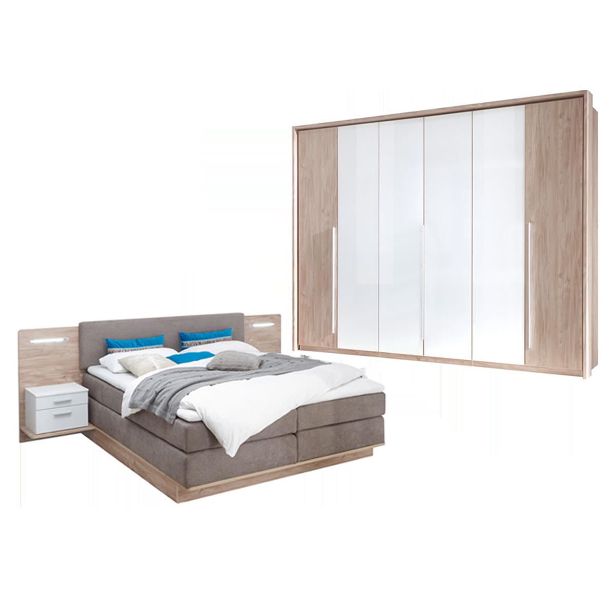 Schlafkontor Malibu Schlafzimmer bestehend aus Boxspringbett mit  Paneelnachtkommoden inkl. Beleuchtung und Kleiderschrank 6-türig optional  mit ...