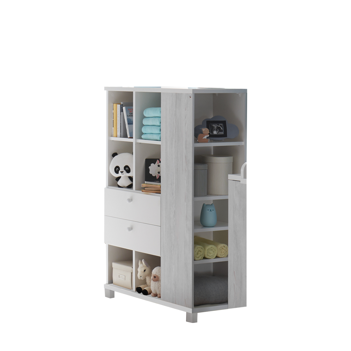 Mäusbacher Skandi Beistellschrank BS_02 mit zwei Schubkästen und elf  offenen Fächer für Ihr Kinderzimmer oder Babyzimmer Regal im Dekor Weiß  matt Lack ...