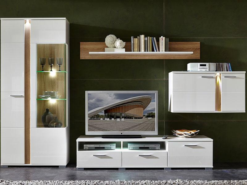 Lieblich Innostyle TV  / Wohnwand SPOT Weiß, Komplett Mit Vitrine, Hängeelement,  Unterteil Und