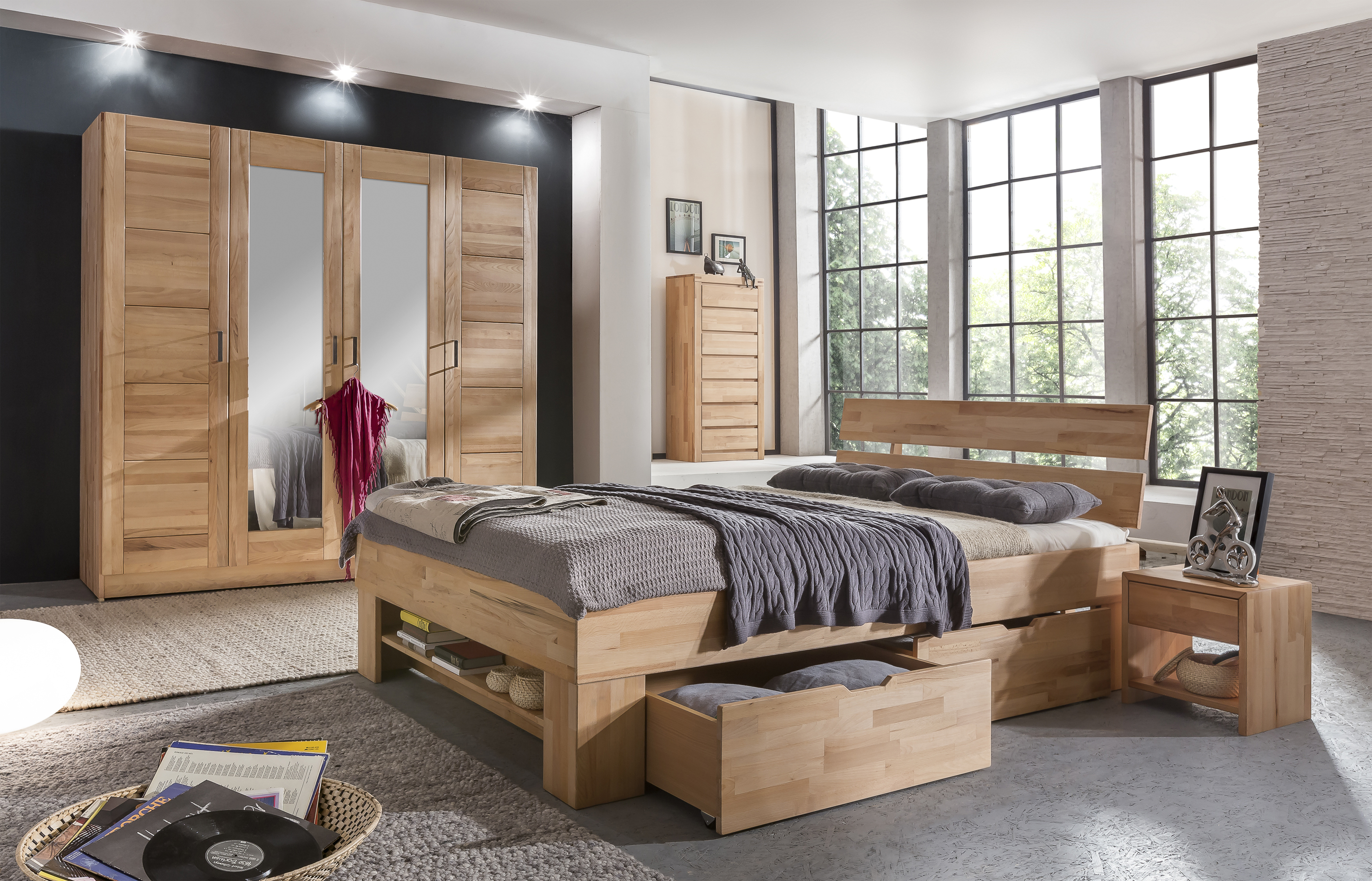 elfo kleiderschrank pia 4s kernbuche teilmassiv 4t riger. Black Bedroom Furniture Sets. Home Design Ideas