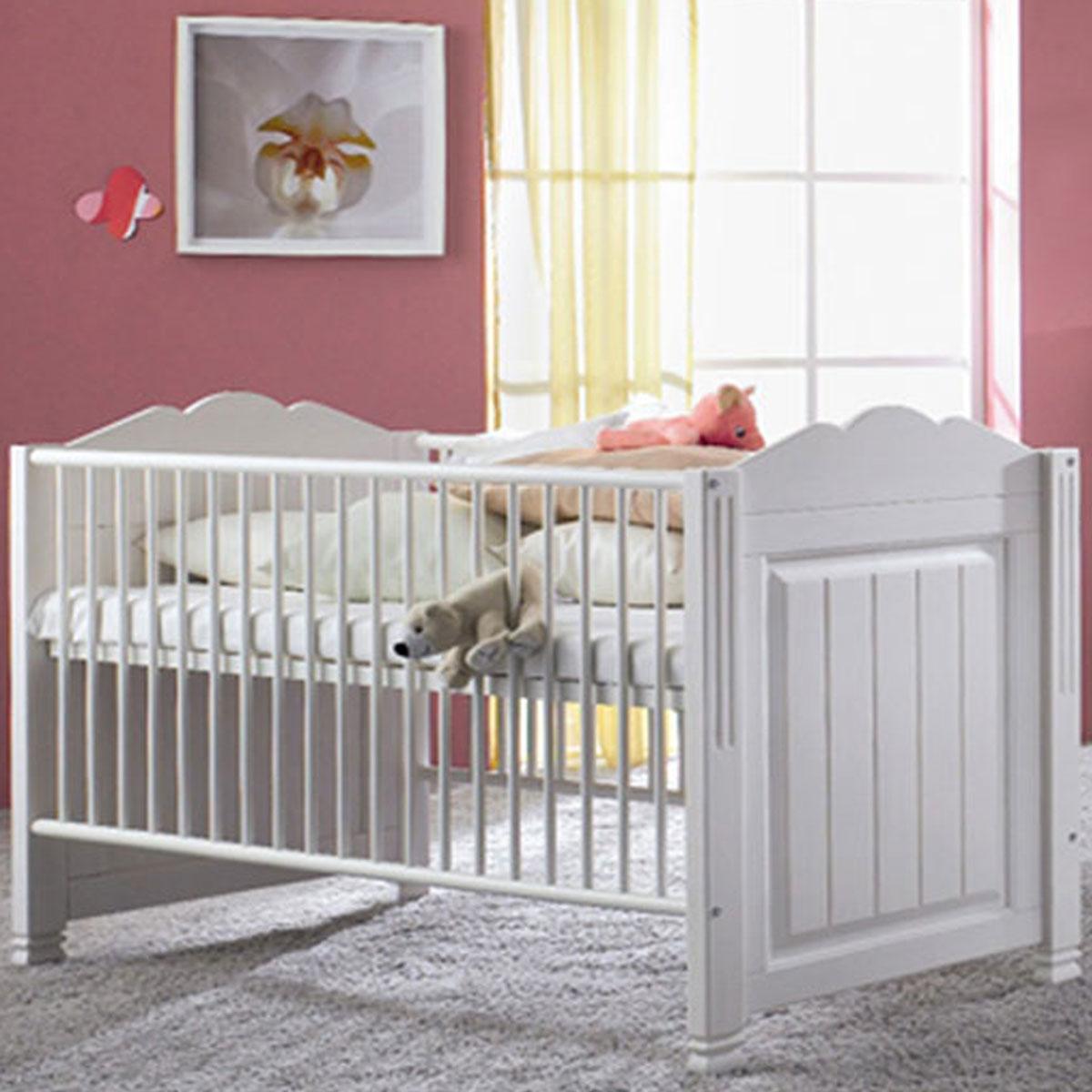 Schlafkontor Cinderella Premium Babybett Kiefer teilmassiv weiß zum  Juniorbett umbaubar