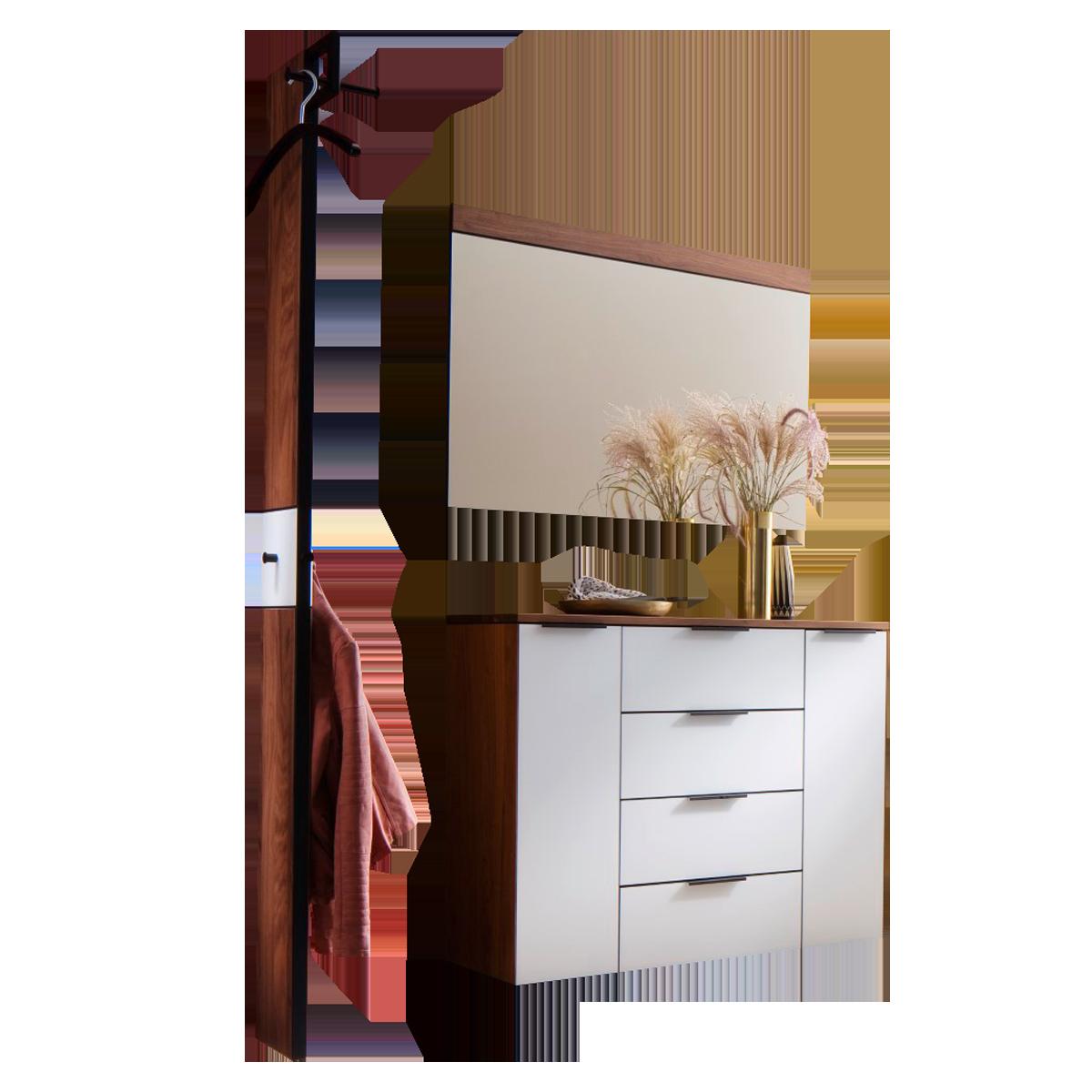 Wittenbreder Novara Garderobenkombination Nr. 05 komplette Garderobe für  Ihren Flur und Eingangsbereich 3-teilige Vorschlagskombination im Nussbaum  ...