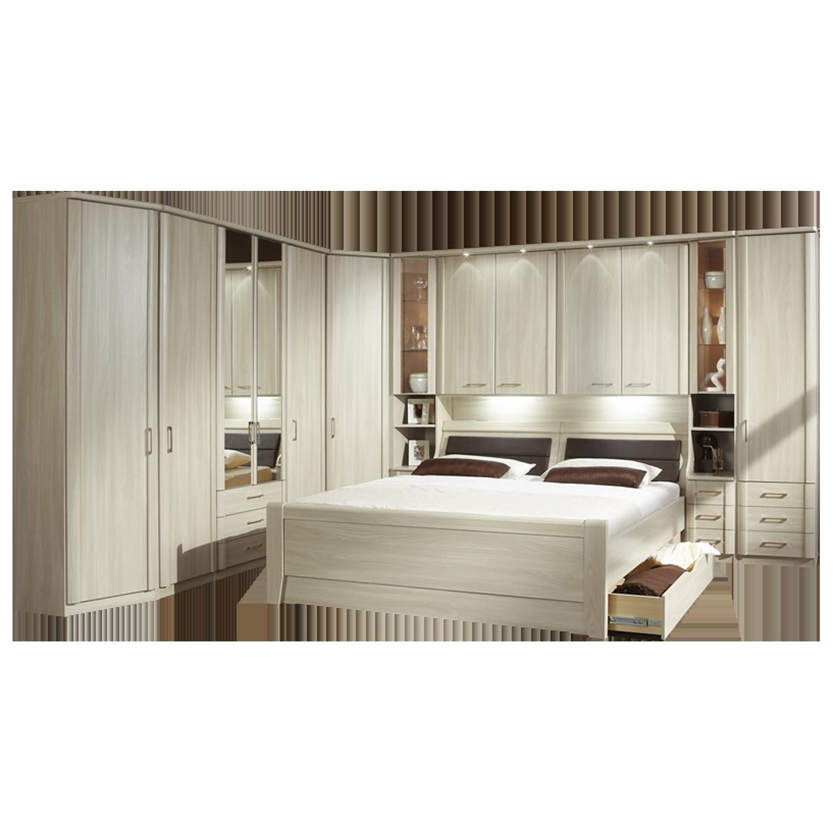 Wiemann Luxor 3+4 Schlafzimmer Doppelbett mit Bettkasten Bettbrücke mit  Beleuchtung und Anbauschrank