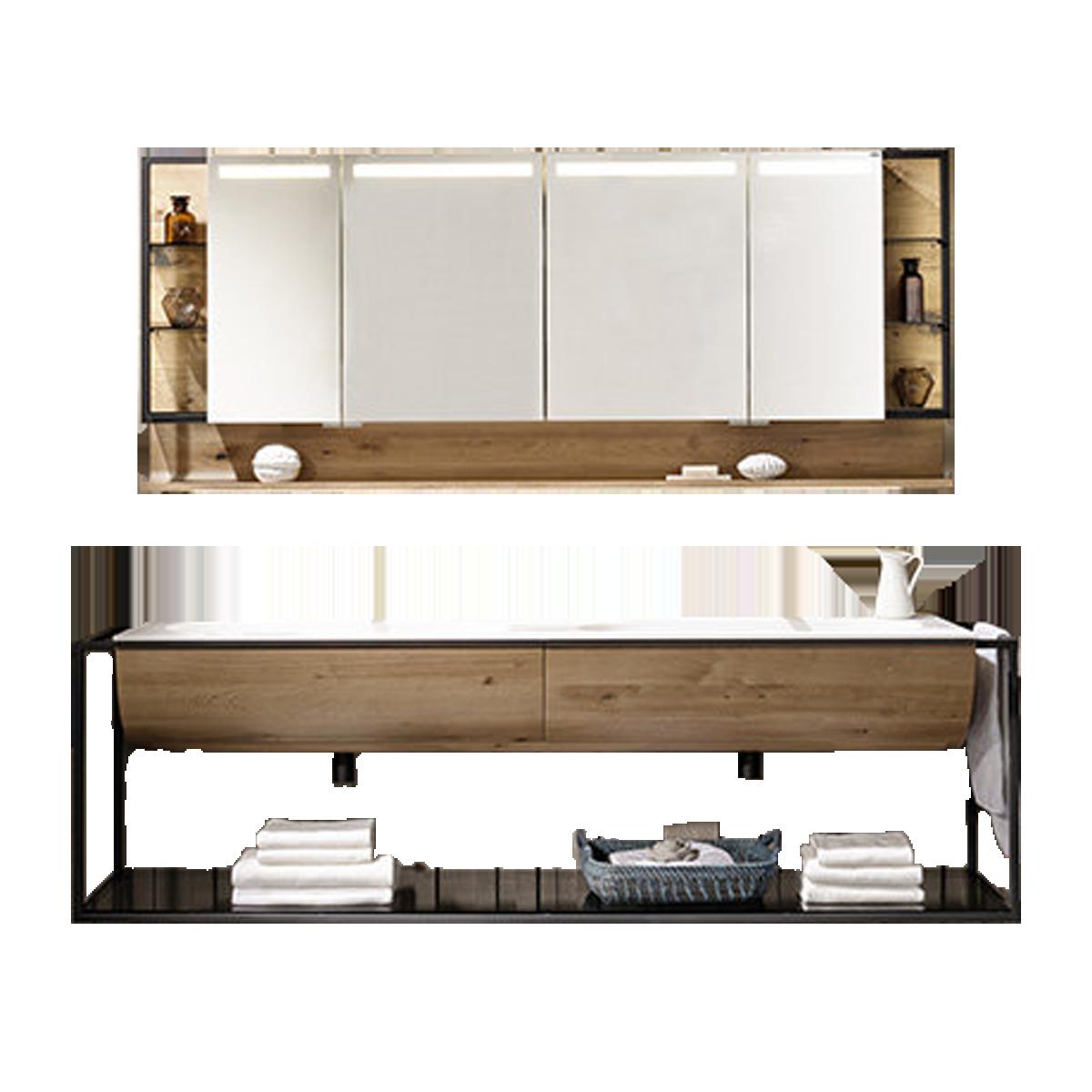Voglauer V Quell Badezimmer Einrichtung Badkombination Mit Doppelwaschtischunterschrank Und Spiegelschrank Mit Regal Korpus Und Front Alteiche Rustiko