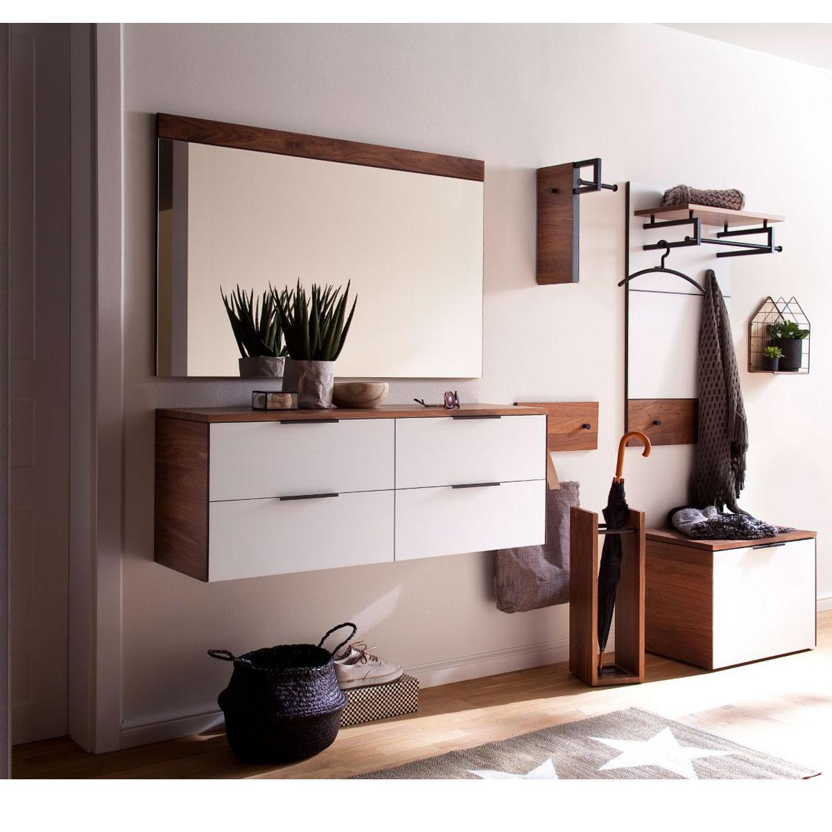 Wittenbreder Novara Garderobenkombination Nr. 13 komplette Garderobe für  Ihren Flur und Eingangsbereich 7-teilige Vorschlagskombination in Nussbaum  ...