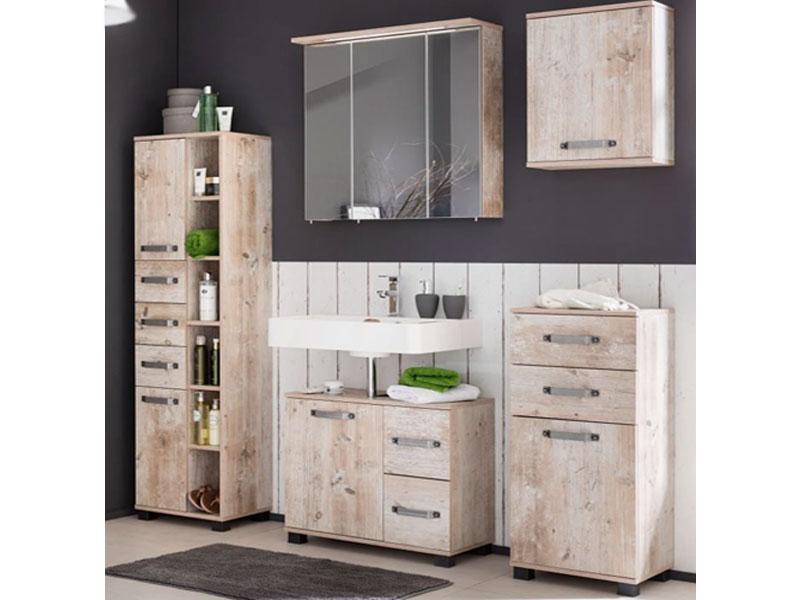 W. Schildmeyer Möbel Milan Badmöbel Set 5-tlg. für Badezimmer mit  Spiegelschrank Oberschrank Highboard Waschbeckenunterschrank und Hochschrank