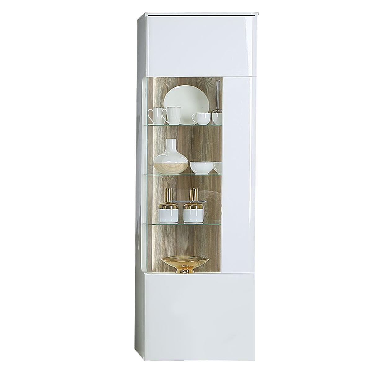 Forte Babila Vitrine BBLV713RB für Ihr Wohnzimmer oder Esszimmer  Standvitrine mit Glastür und Beleuchtung Dekor Korpus Weiß matt kombiniert  mit Weiß ...