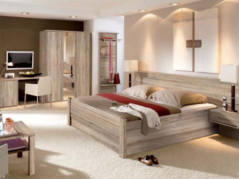 Priess Objekträume Schlafzimmer Bett 3-türiger Kleiderschrank mit ...
