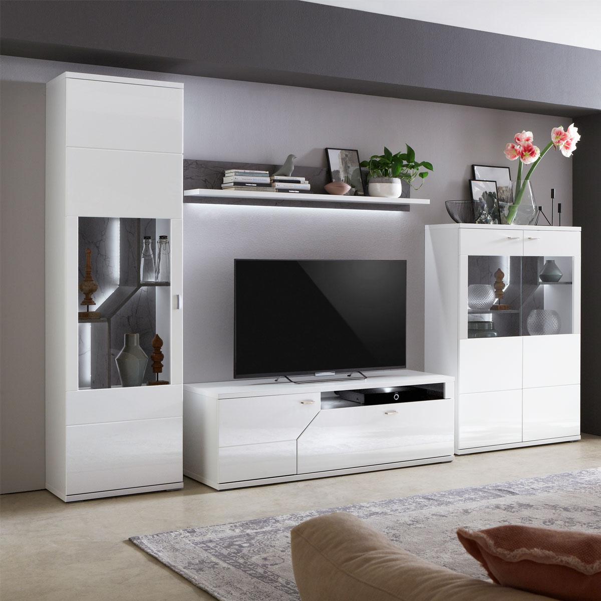 Ideal-Möbel Taviano Wohnkombination 35 moderne 4-teilige Wohnwand für Ihr  Wohnzimmer mit Lowboard Wandboard und zwei Vitrinen Ausführung Weiß mit ...